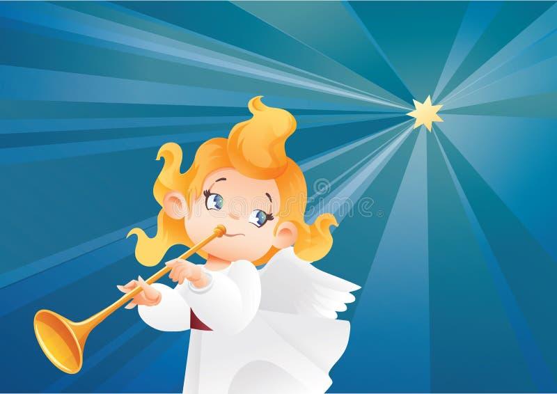 Lura ängelmusikerflyget på en natthimmel, danandefanfarappell stock illustrationer
