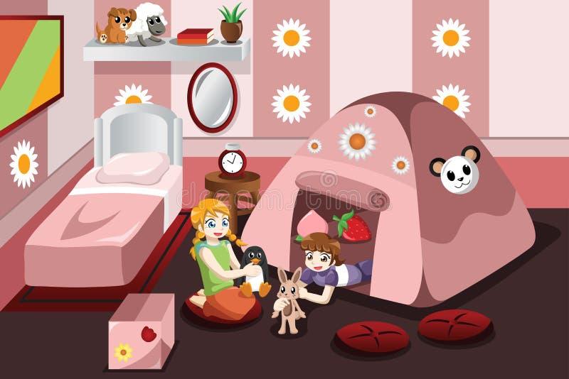 Lura att spela i ett tält inom sovrummet stock illustrationer