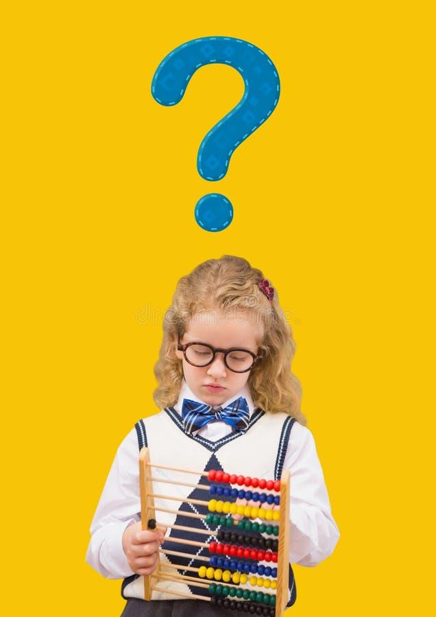 Lura flickan med den blåa frågefläcken och kulrammet arkivfoto