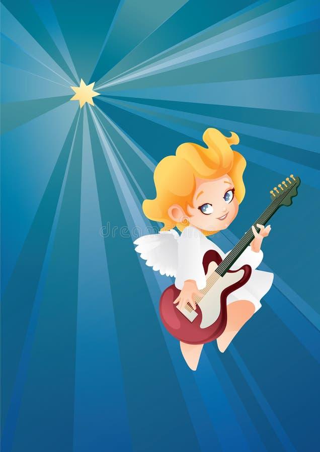 Lura flyget för ängelmusikergitarristen på en musik för danande för natthimmel på gitarren stock illustrationer