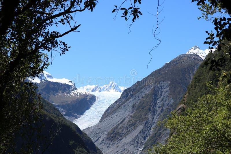 Lura glaciären, den Te Moeka nollan Tuawe, Nya Zeeland royaltyfri bild