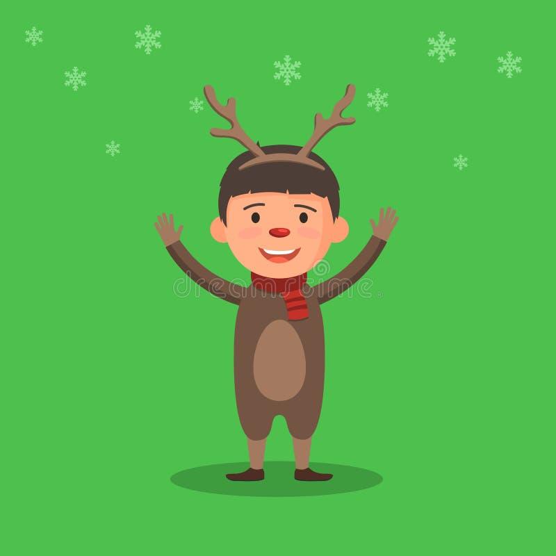 Lura i en julhjortdräkt royaltyfri illustrationer
