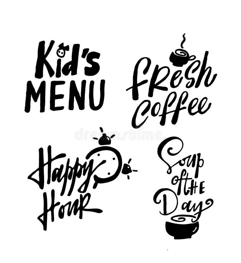 Lura menyn för ` s, nytt kaffe, den lyckliga timmen, soppa av dagen royaltyfri illustrationer