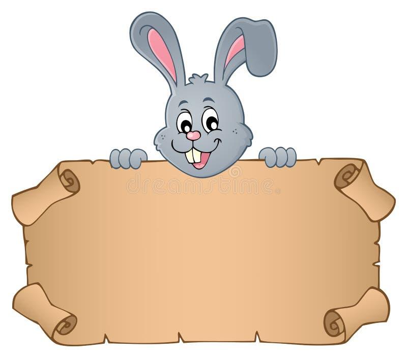 Lura påskkaninen med pergament 1 stock illustrationer