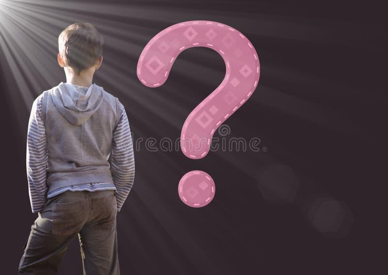 Lura pojken med frågefläcken och ljus källa fotografering för bildbyråer