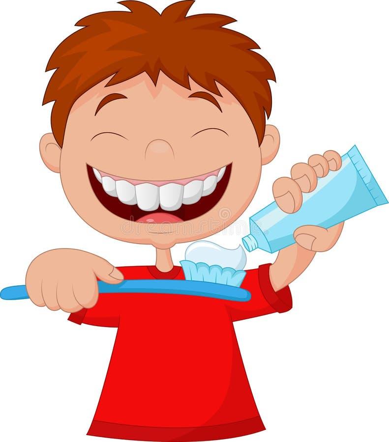 Lura tecknade filmen som pressar tanddeg på en tandborste royaltyfri illustrationer