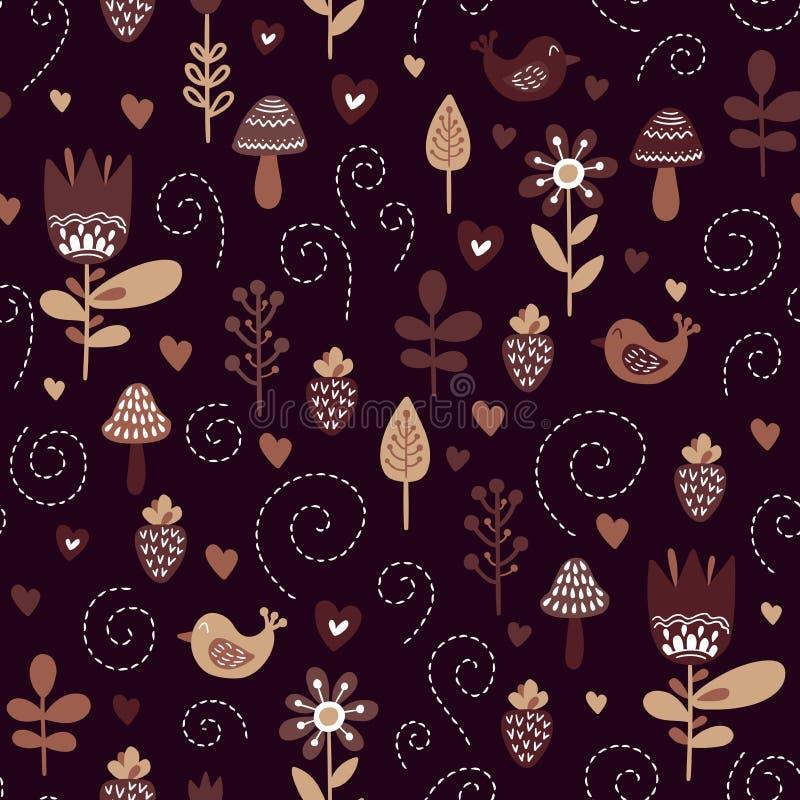 Lurar bakgrund med gulliga fåglar och växter i färger av brunt, beiga som är svartvit stock illustrationer