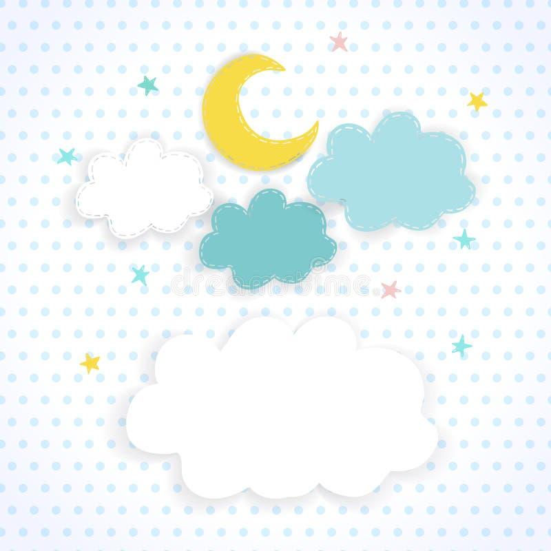 Lurar bakgrund med månen, moln och stjärnor vektor illustrationer