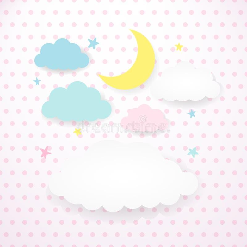 Lurar bakgrund med månen, moln och stjärnor stock illustrationer