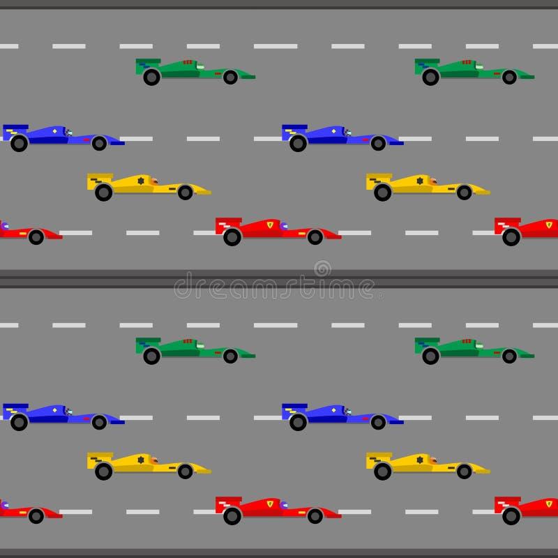 Lurar den gulliga sömlösa modellen för den tävlings- bilen för gåvasjal vektor illustrationer