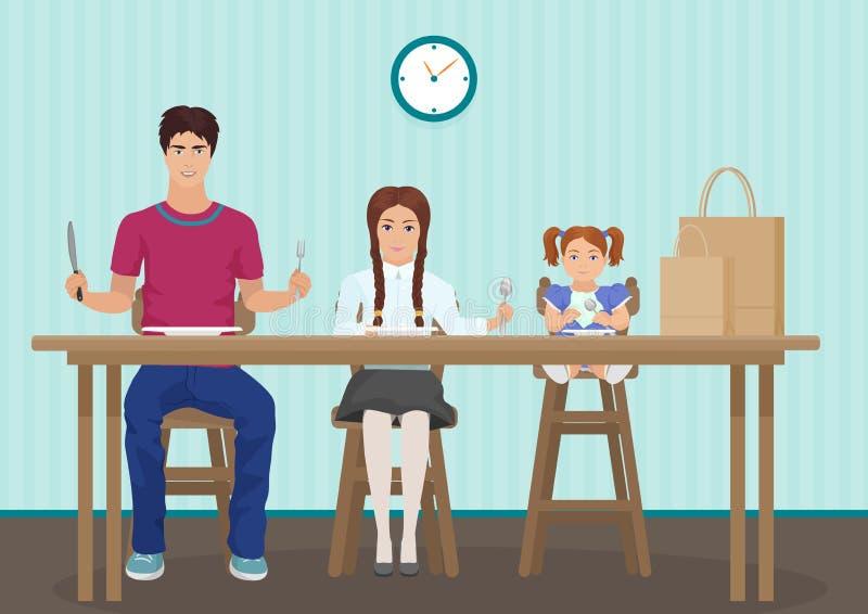 Lurar den väntande på matställen i köket Rymma en sked och en gaffel i handen Hungriga barnungar som väntar smaklig mat stock illustrationer