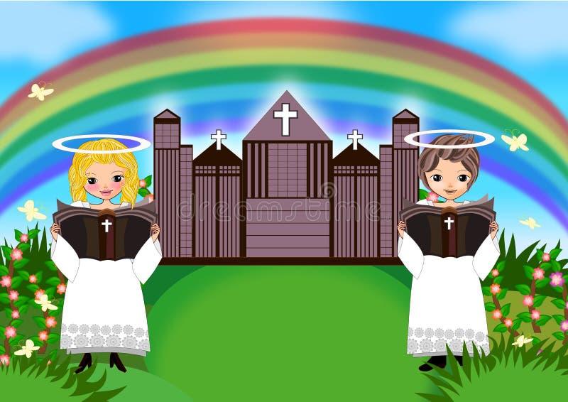Lurar flickapojken i kyrka vektor illustrationer