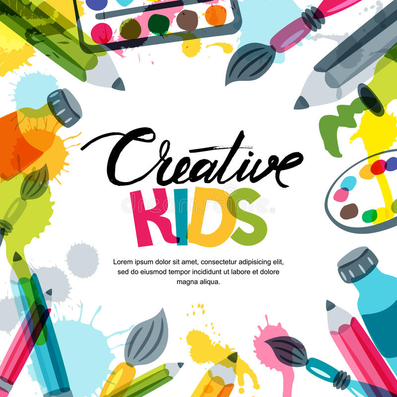 Lurar konst, utbildning, kreativitetgruppbegrepp Vektorbanret, affischbakgrund med kalligrafi, blyertspennan, borste, målar
