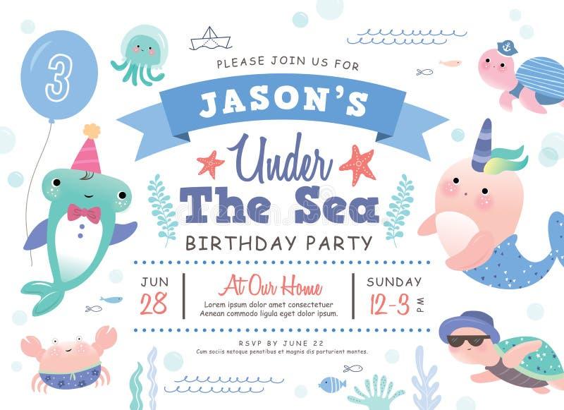 Lurar kortet för inbjudan för födelsedagpartiet royaltyfri illustrationer