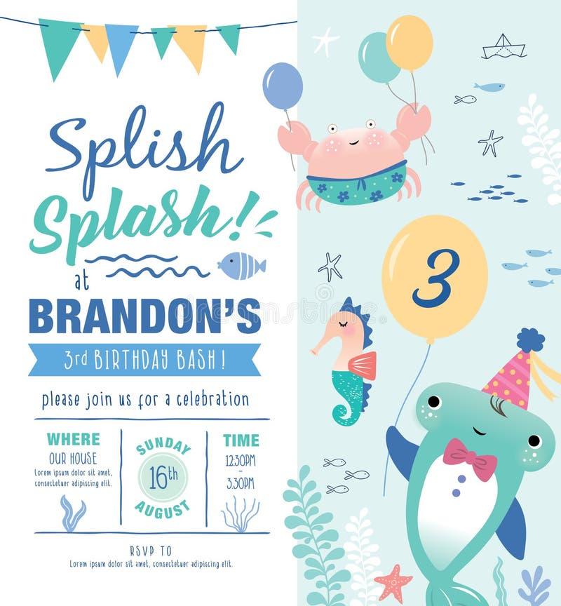 Lurar kortet för inbjudan för födelsedagpartiet stock illustrationer