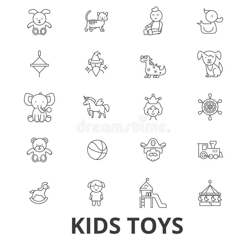 Lurar leksaker som spelar, behandla som ett barn leksaken, barn leksaken, ungar hyr rum, nallebjörnen, yule, piratkopierar linjen stock illustrationer