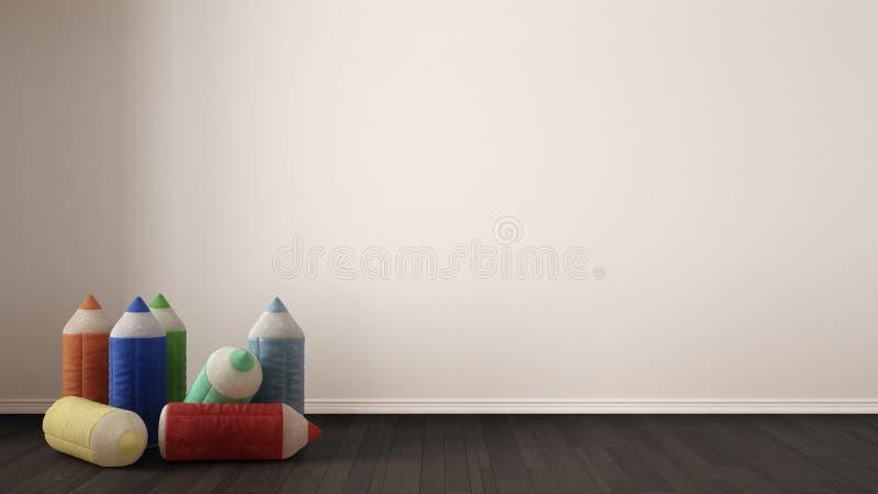 Lurar på minimalist vit bakgrund med välfyllda kulöra blyertspennor fotografering för bildbyråer