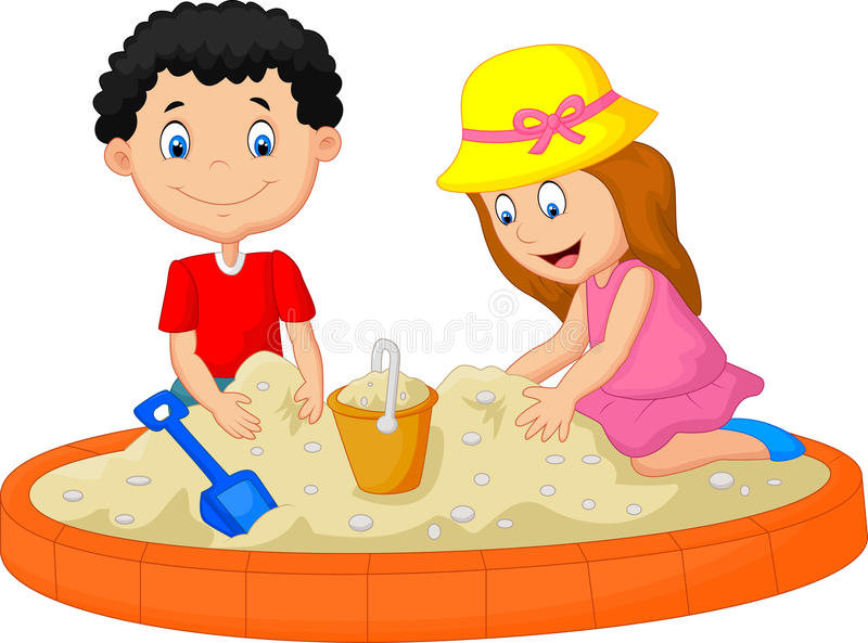 Lurar tecknade filmen som spelar på stranden som bygger en sandslottgarnering royaltyfri illustrationer