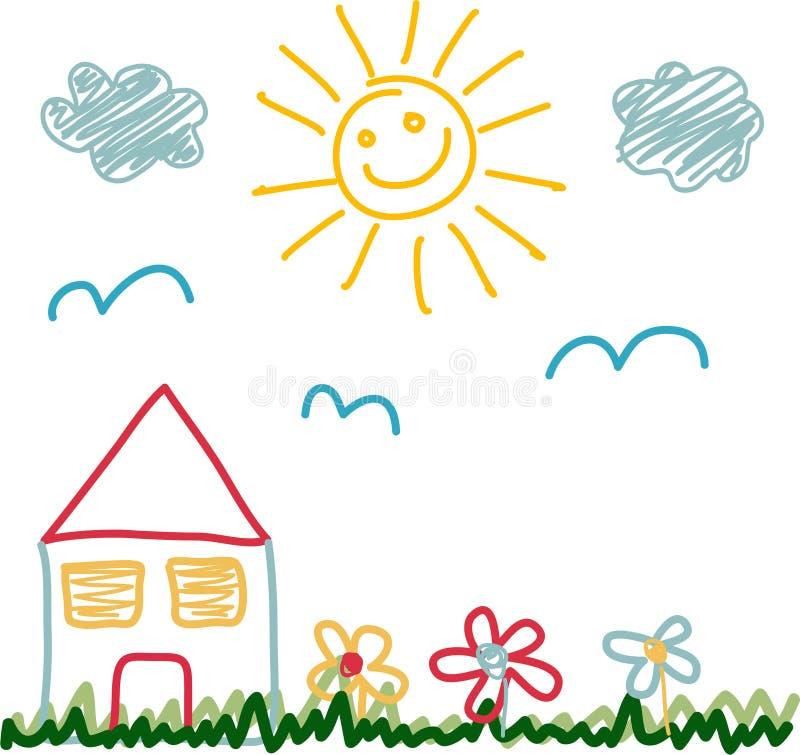 Lurar teckningen av huset för den soliga dagen vektor illustrationer