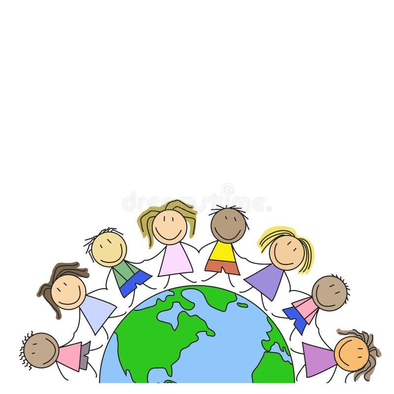 Lurar världen - barn på jordklotet royaltyfri illustrationer