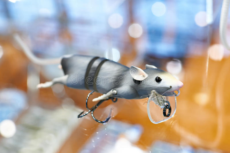 Lure for fishing gray mouse stock photo