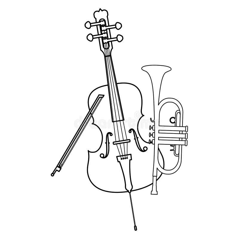 Lurendrejeri- och trumpetinstrumentmusikal royaltyfri illustrationer