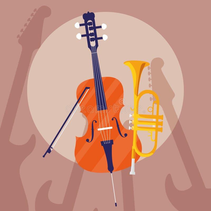 Lurendrejeri- och trumpetinstrumentmusikal stock illustrationer