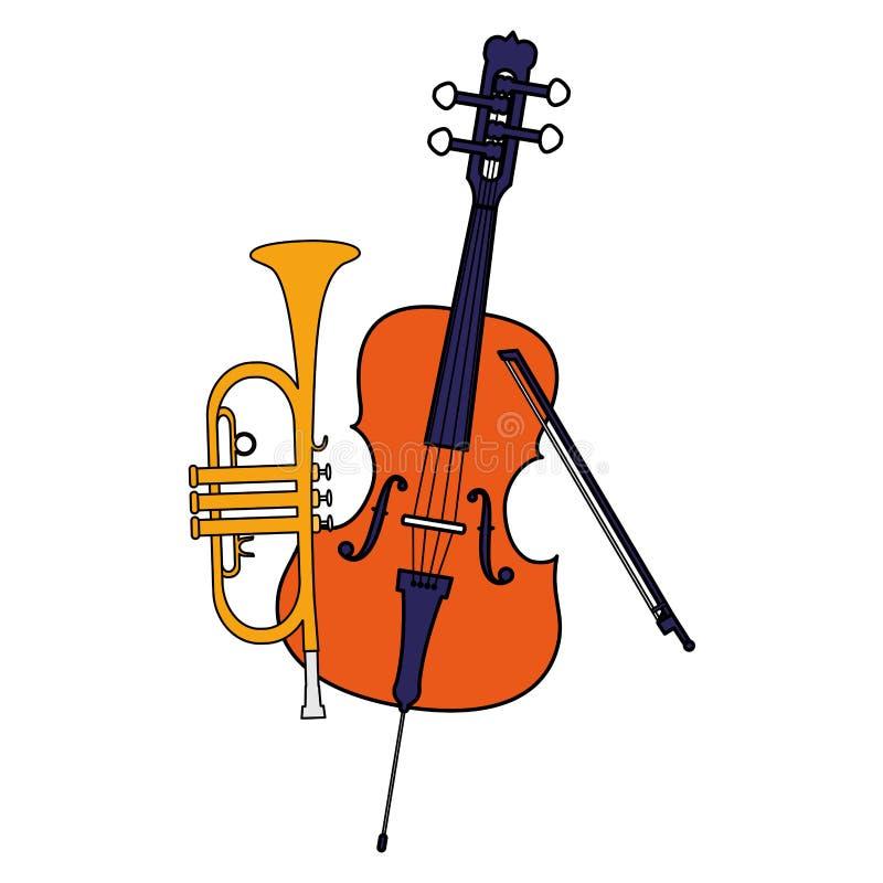 Lurendrejeri- och trumpetinstrumentmusikal vektor illustrationer