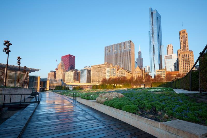Lurie Garden al parco di millennio in Chicago fotografia stock