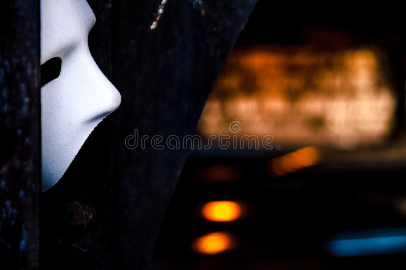 Lurking In The Shadows - Phantom Of The Opera Mask Royalty Free Stock Photography