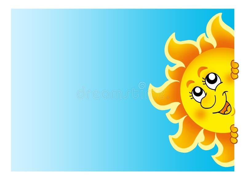 Lurking Sun on sky vector illustration