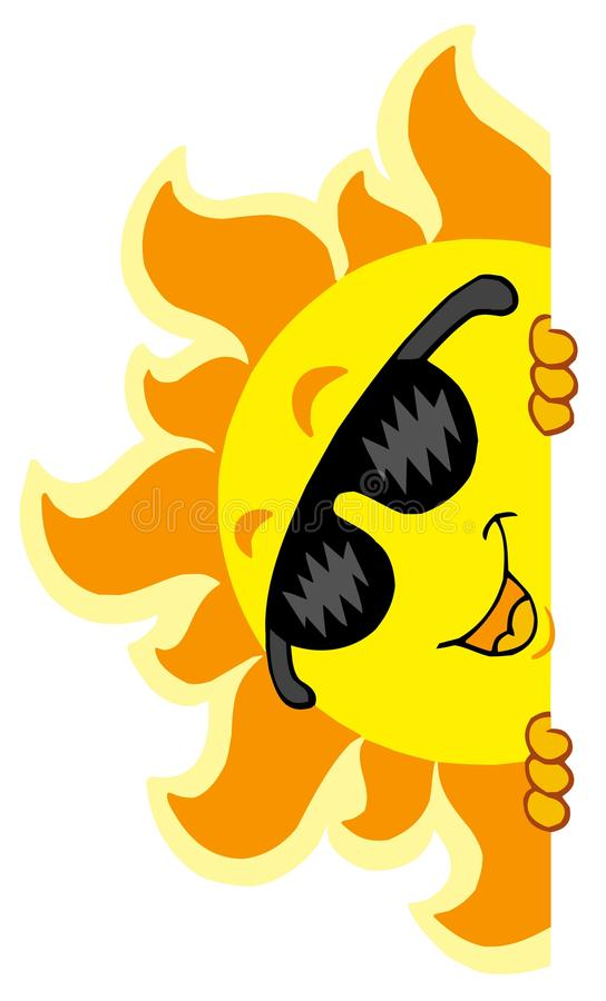 Lurking Sun with sunglasses stock illustration