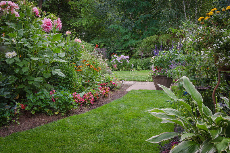 Lush Backyard Garden stock photo