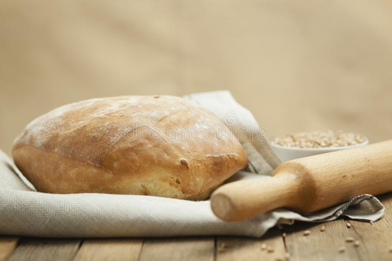 Lush bread on a towel stock photo