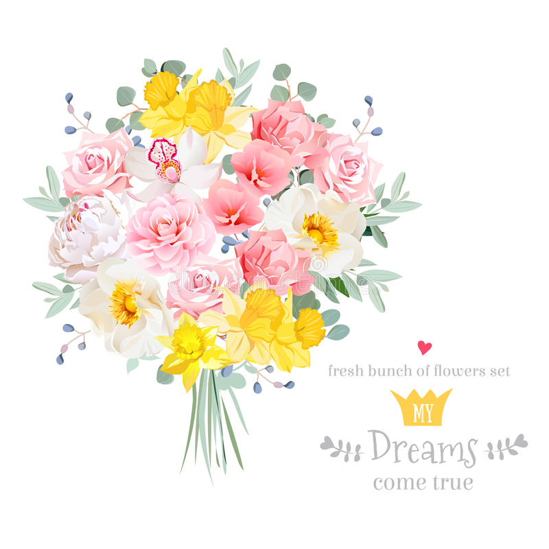 Free Lush Bright Spring Flowers Vector Design Set Stock Image - 74047671