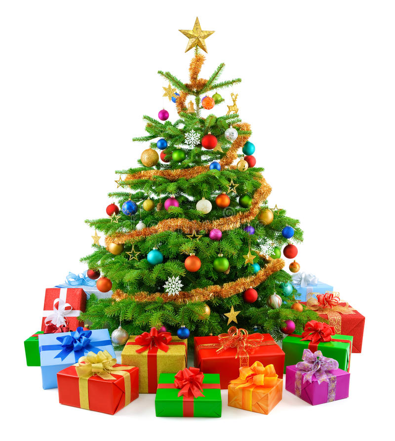 Lush Christmas tree with colorful gift boxes royalty free stock photo