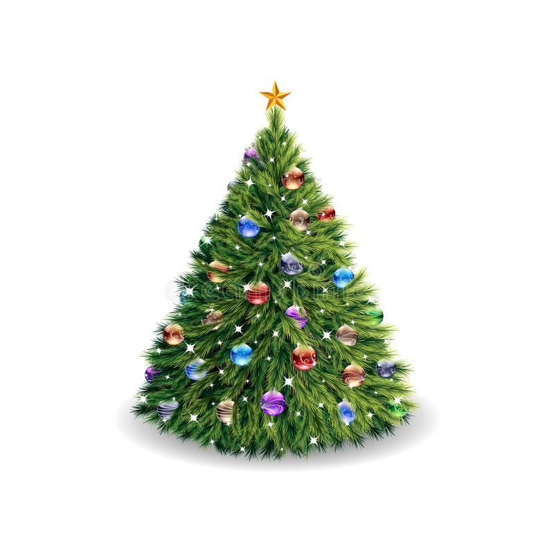 Lush Christmas tree, with toys and a star, cartoon on a white ba. Ckground vector illustration