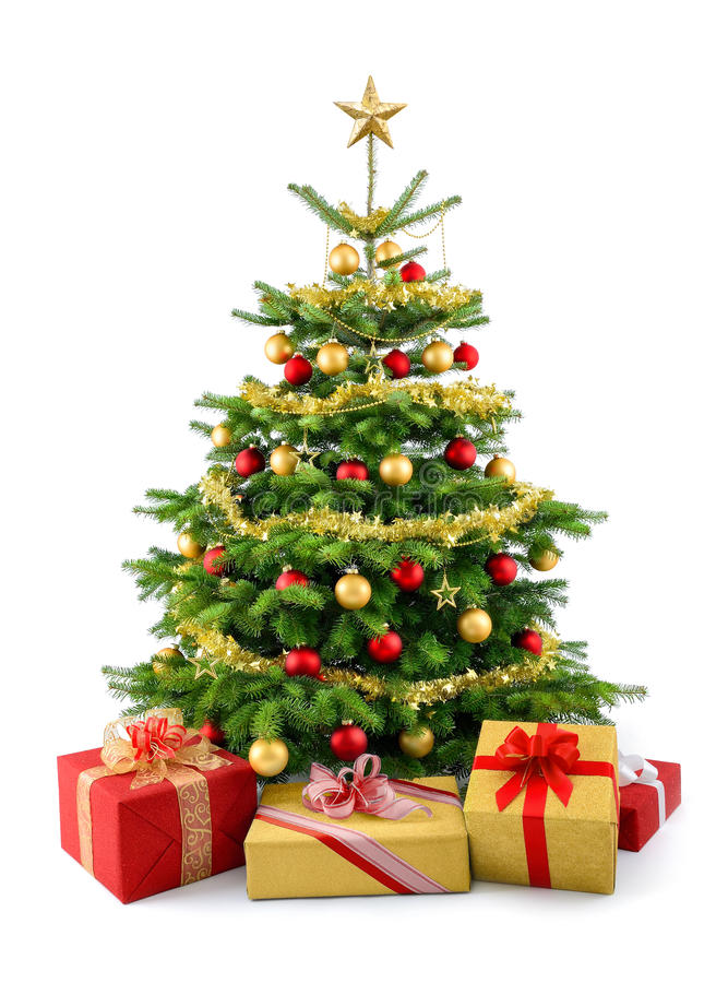 Free Lush Christmas Tree With Gift Boxes Royalty Free Stock Photography - 35415647