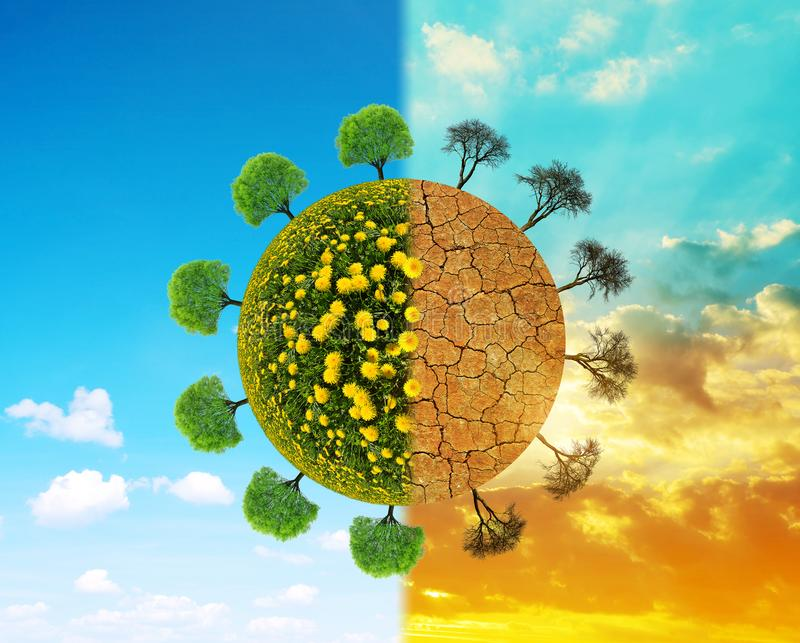 Lush and dry planet with trees. Concept of change climate or global warming stock images