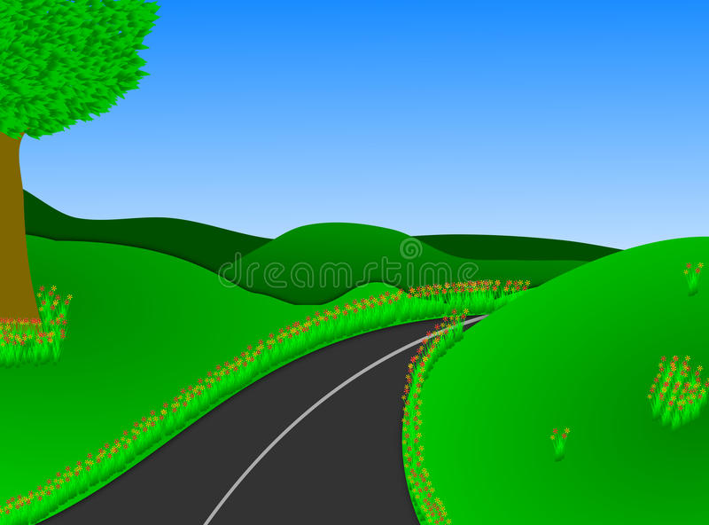 Lush Green Countryside Road vector illustration