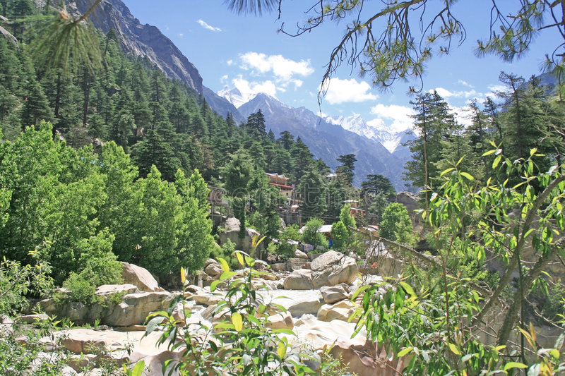 Lush green himalayan forest and valley and snow peaks gangotri royalty free stock images