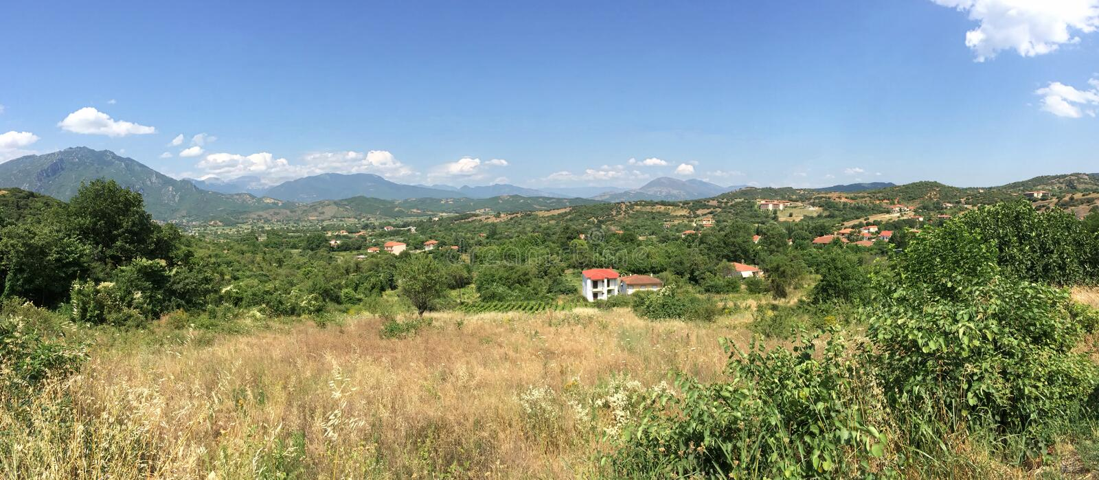 Kastraki, Greece Landscape Panoramic View During a Summer Day Near Meteora stock image