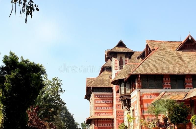 Lush Green Tree Leaves on background of Napier Museum, Kerala, India royalty free stock photography