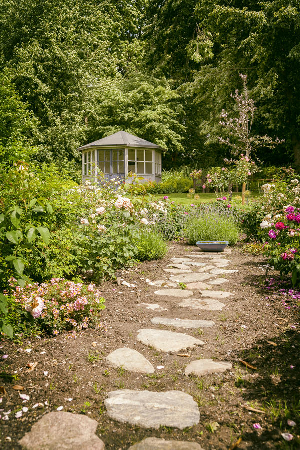 Lush landscaped garden royalty free stock photos