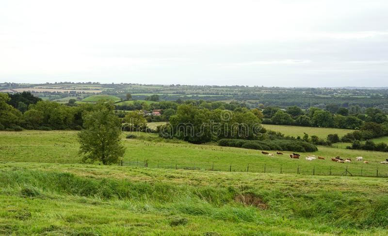 Lush and pastoral Boyne River Valley. The Passage tomb mounds at Newgrange, Knowth and Dowth overlook the beautiful Boyne River Valley in County Meath, Ireland stock photo