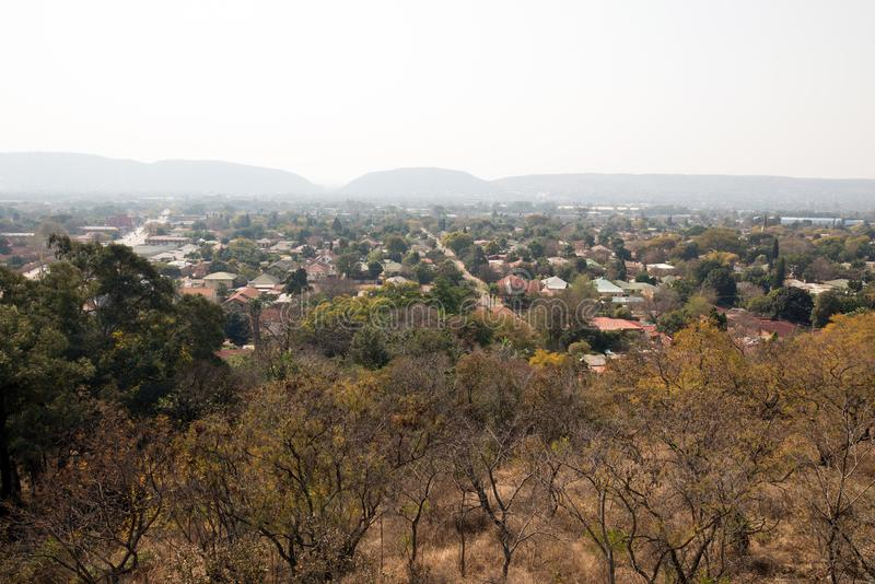A lush suburb of Pretoria, South Africa. A suburb of Pretoria, South Africa. Pretoria has an enormous amount of trees planted in it stock photo