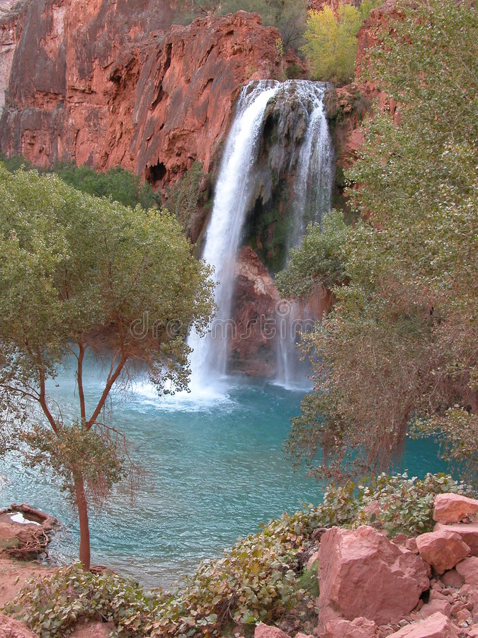 Download Lush Waterfall stock photo. Image of blue, water, havasu - 166976