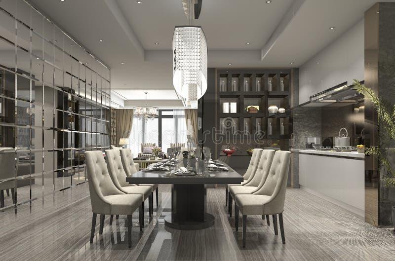 lusso della rappresentazione 3d e ristorante moderno e zona pranzare royalty illustrazione gratis