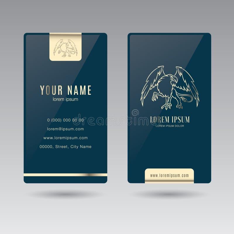 Lusso elegante verticale bilaterale del grifone del biglietto da visita royalty illustrazione gratis