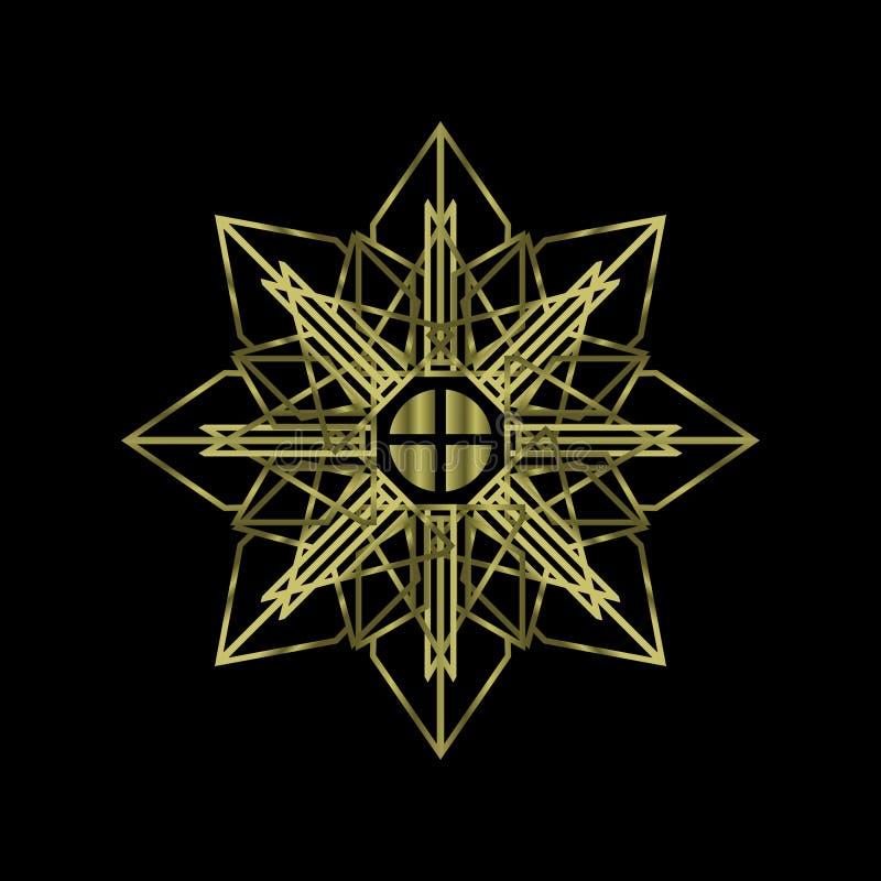 Lusso sacro astratto della mandala della geometria con colore dell'oro Religione di simbolo di Chakra di anima illustrazione vettoriale